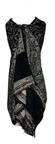 High Grade 4 Ply Reversible Paisley Pashmina Hand Made Shawl (Black/Olive)