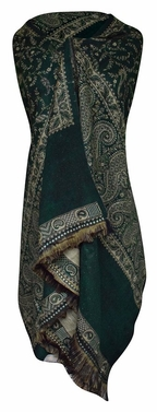 High Grade 4 Ply Reversible Paisley Pashmina Hand Made Shawl (Dark Green/Tan)