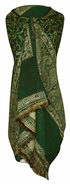 High Grade 4 Ply Reversible Paisley Pashmina Hand Made Shawl (Forest Green/Tan)