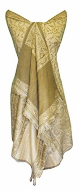 High Grade 4 Ply Reversible Paisley Pashmina Hand Made Shawl (Khaki/Tan)