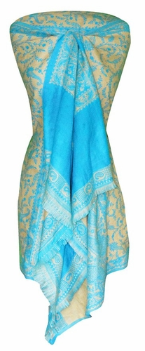 Turquoise/Tan 4 Ply Reversible Paisley Pashmina Hand Made Shawl