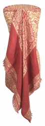 Cream Pink 4 Ply Reversible Paisley Pashmina Hand Made Shawl