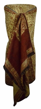 High Grade 4 Ply Reversible Paisley Pashmina Hand Made Shawl (Rust)