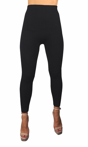 Black High Waist Slimming Seamless Fleece Lined Winter Leggings Yoga Pants Braided