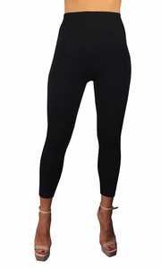 Peach Couture High Waist Slimming Seamless Fleece Lined Winter Leggings Yoga Pants Ribbed Black