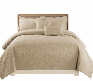 Beige Embossed Paisley 5 pcs Quilt Set