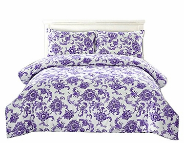 Purple Floral Dream 3 pcs Comforter Set