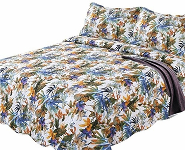 Blue Orange Floral Patterned Quilt Comforter Set (King)