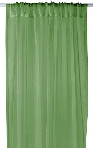 "Sage Light 1 Piece Solid Color Sheer Window Treatment Curtain Panel with Rod Pocket - 54"" X 84"""