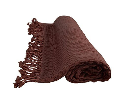 Chocolate Brown Basket Weave Cashmere Wool Soft Throw with Tassels 50 x 60 in