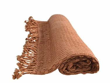 Basket Weave Cashmere Wool Throw with Tassels 50 x 60