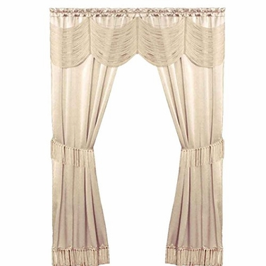 Satin 6 piece Window Curtain Set in a Bag With Window Panels Valance Voile Panels Tasseled Tie 56 in x 63 in