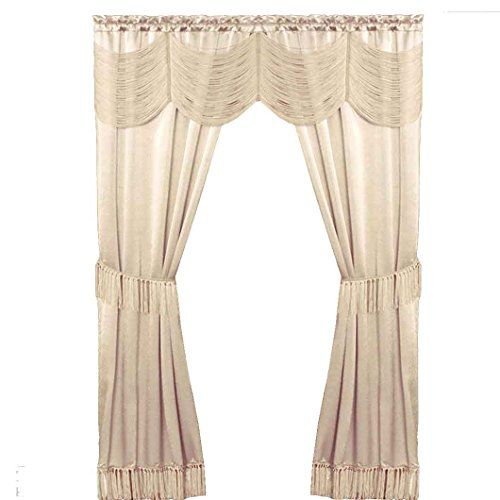 Multi-Color Satin 6 piece Window Curtain Set in a Bag With Window Panels Valance Voile Panels Tasseled Tie Backs Ivory 56 in x 84 in