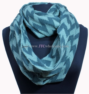 Teal/White Hot Design Knitted Classic Chevron Infinity Loop Scarves