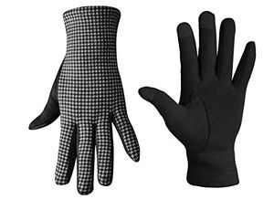 Peach Couture houndstooth fleece lined smart phone compatible gloves