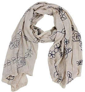 Peach Couture Intricate Floral Pansy Embroidered Light Weight Summer Shawl Scarf Wrap