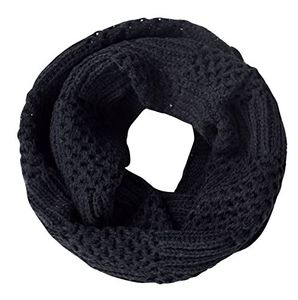 Black Intricately Knitted Lace Ribbon Infinity Loop Cowl Scarves