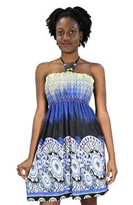Blue Black Juniors Boho Print Smocked Bodice Beaded Neck Midi Dress
