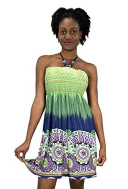 Green Blue Juniors Boho Print Smocked Bodice Beaded Neck Midi Dress (XL)