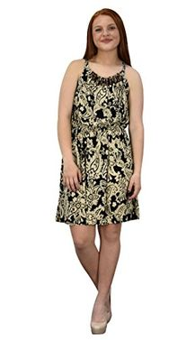 Juniors Boho Print Smocked Bodice Beaded Neck Midi Dress (Large)