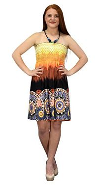 Orange Black Juniors Boho Print Smocked Bodice Beaded Neck Midi Dress (XXL)