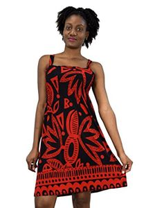 Aztec Red Black Juniors Knee Length Multicolor Exotic Smocked Printed Summer Dress