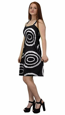 Black White Juniors Knee Length Multicolor Exotic Smocked Printed Summer Dress (Circle)