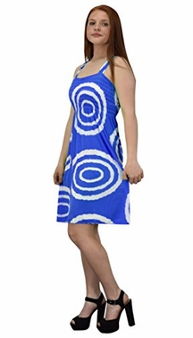 Blue White Juniors Knee Length Multicolor Exotic Smocked Printed Summer Dress (Circle)