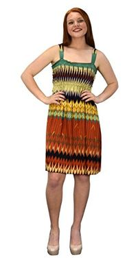 Cream Orange Juniors Knee Length Multicolor Exotic Smocked Printed Summer Dress