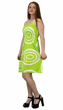 Green White Juniors Knee Length Multicolor Exotic Smocked Printed Summer Dress (Circle)