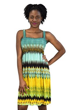 Juniors Knee Length Multicolor Exotic Smocked Printed Summer Dress (Large)