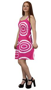 Pink White Juniors Knee Length Multicolor Exotic Smocked Printed Summer Dress (Circle)