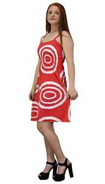 Red White Juniors Knee Length Multicolor Exotic Smocked Printed Summer Dress (Small, Circle)
