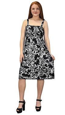 Cream Black Paisley Juniors Knee Length Multicolor Exotic Smocked Printed Summer Dress (XX-Large)
