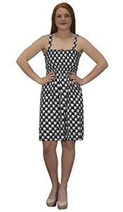 Houndstooth Black Juniors Knee Length Multicolor Exotic Smocked Printed Summer Dress (XXL)
