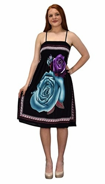 Black Teal Juniors Rose Print Smocked Bodice Spaghetti Strap Midi Dress (M/L)