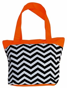 Orange Chevron Canvas Delux Fun Print Tote Versatile Bag Purse Handbag