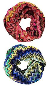 Peach Couture Knitted Chevron Multicolor Zigzag Infinity Loop Scarf Many Colors (2 Pack, Pink/Blue)