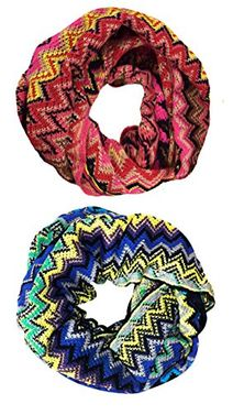 Pink Blue Knitted Chevron Multicolor Zigzag Infinity Loop Scarf Many Colors (2 Pack)