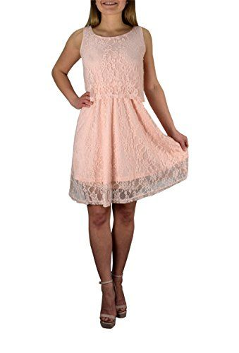 Coral Lace Overlay Sleeveless Mini Solid Color Summer Dress