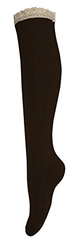 Peach Couture Lace Trimmed Warm Stylish Cotton Knit Knee High Boot Socks