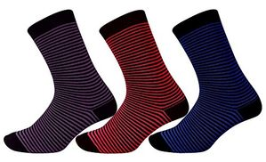 Ladies Thin Striped 3 Pair Stretch Variety Socks (Fuchsia Purple Blue, 4-10 Shoe Size)