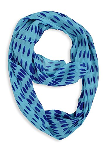 Light and Sheer Polka Dot Circle Print Infinity Loop Scarf (Aqua Crinkle)