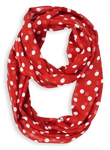 Red Sheer Polka Dot Circle Print Infinity Loop Scarf (Small)