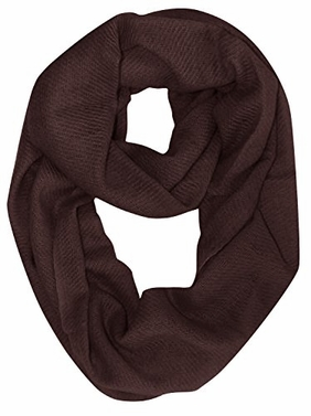 Chocolate Brown Cashmere Wool Infinity Loop Wrap Scarf
