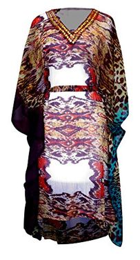 Multi Color Light Weight Geometric Tribal Print Long Sleeve Fabric Belt Summer Tunic Mini Dress Large