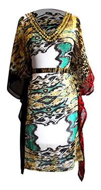 Multi Color Light Weight Geometric Tribal Print Long Sleeve Fabric Belt Summer Tunic Mini dress, Medium