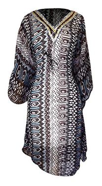 Multi Color Light Weight Geometric Tribal Print Long Sleeve Fabric Belt Summer Tunic Mini dress Tribal Brown X-Large