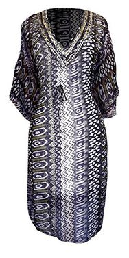 Purple Light Weight Geometric Tribal Print Long Sleeve Fabric Belt Summer Tunic Mini Dress Tribal