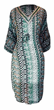 Teal Tribal Light Weight Geometric Tribal Print Long Sleeve Fabric Belt Summer Tunic Mini dress